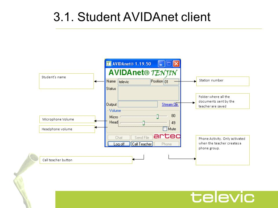 3.2.Student AVIDAnet client To retrieve the recordings the student clicks on 'Stream Dir'.
