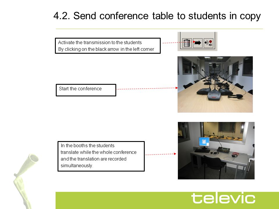4.2. Send conference table to students in copy Activate the transmission to the students By clicking on the black arrow in the left corner Start the c