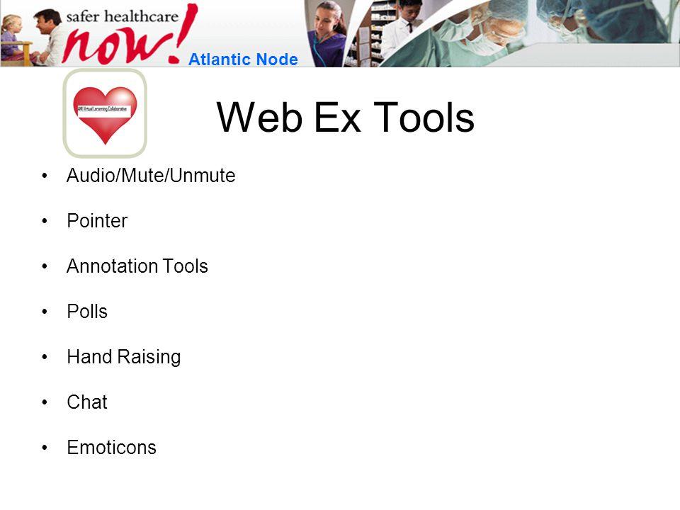 Web Ex Tools Audio/Mute/Unmute Pointer Annotation Tools Polls Hand Raising Chat Emoticons Atlantic Node