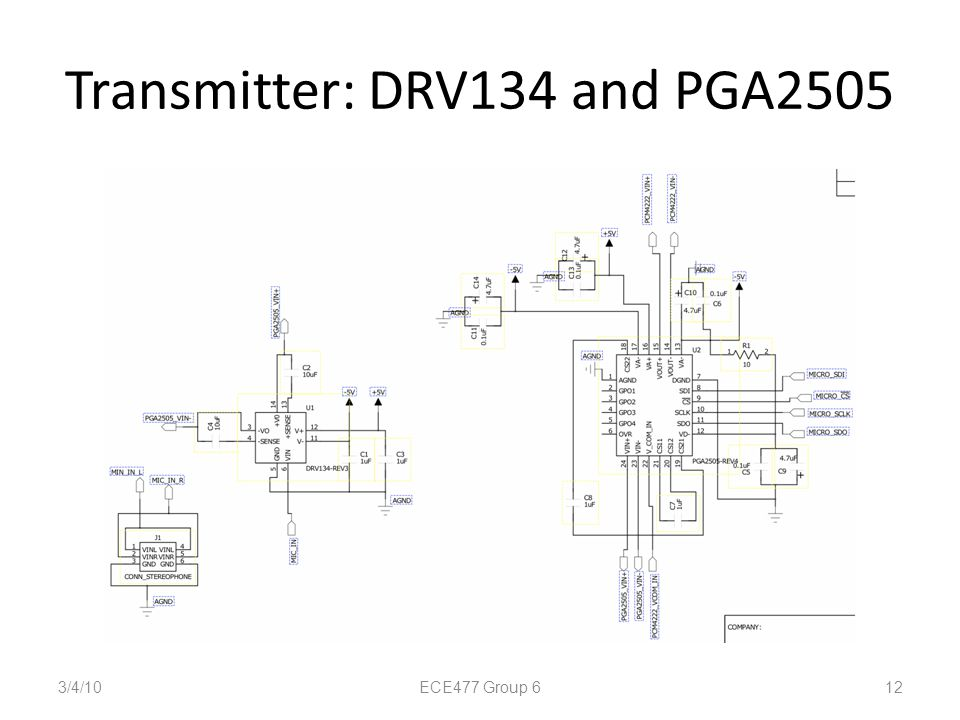 Transmitter: DRV134 and PGA2505 3/4/10 12 ECE477 Group 6