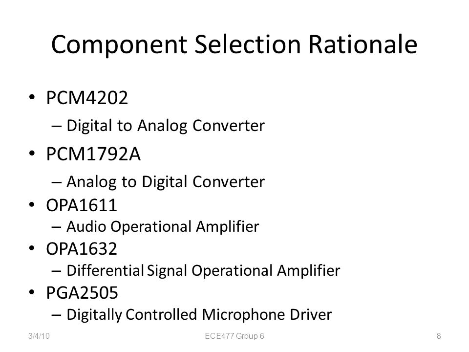 Component Selection Rationale PCM4202 – Digital to Analog Converter PCM1792A – Analog to Digital Converter OPA1611 – Audio Operational Amplifier OPA16