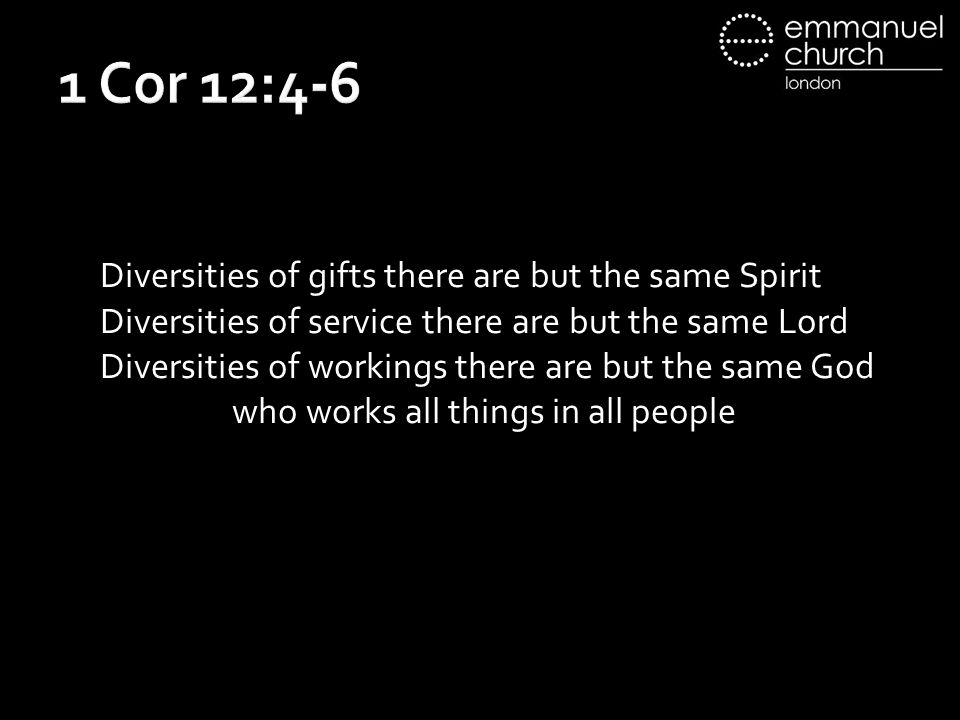 1 Cor 12:4-6 Diversities of gifts there are but the same Spirit Diversities of service there are but the same Lord Diversities of workings there are but the same God who works all things in all people