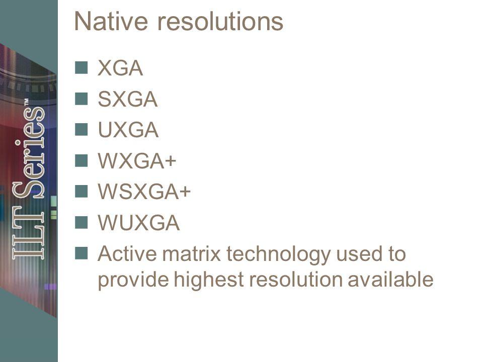 Native resolutions XGA SXGA UXGA WXGA+ WSXGA+ WUXGA Active matrix technology used to provide highest resolution available