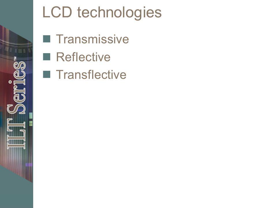 LCD technologies Transmissive Reflective Transflective