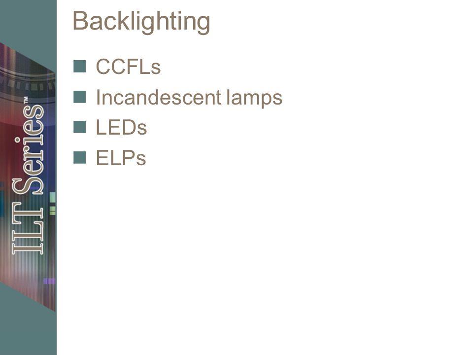 Backlighting CCFLs Incandescent lamps LEDs ELPs