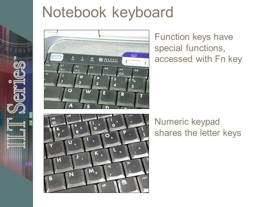 Notebook keyboard Numeric keypad shares the letter keys Function keys have special functions, accessed with Fn key