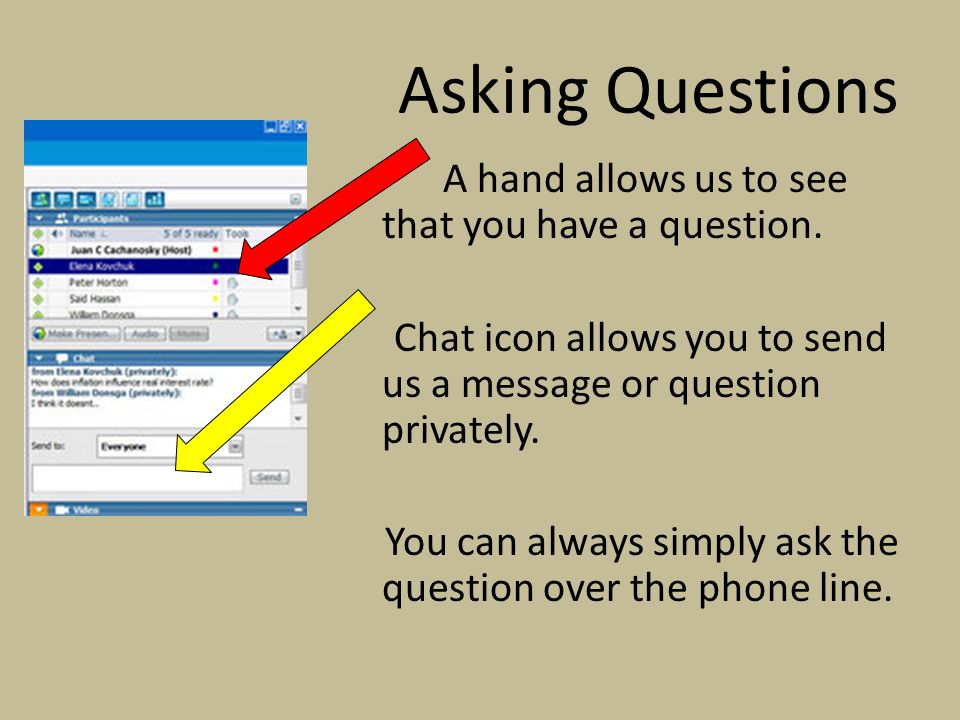 Asking Questions A hand allows us to see that you have a question. Chat icon allows you to send us a message or question privately. You can always sim