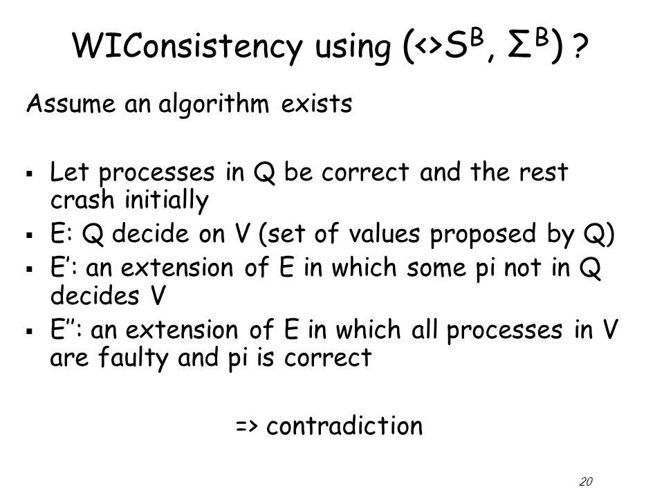 20 WIConsistency using (<>S B, Σ B ) .