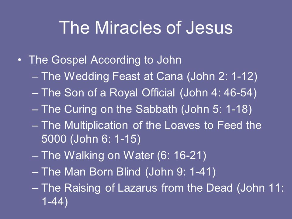 The Miracles of Jesus The Gospel According to John –The Wedding Feast at Cana (John 2: 1-12) –The Son of a Royal Official (John 4: 46-54) –The Curing on the Sabbath (John 5: 1-18) –The Multiplication of the Loaves to Feed the 5000 (John 6: 1-15) –The Walking on Water (6: 16-21) –The Man Born Blind (John 9: 1-41) –The Raising of Lazarus from the Dead (John 11: 1-44)