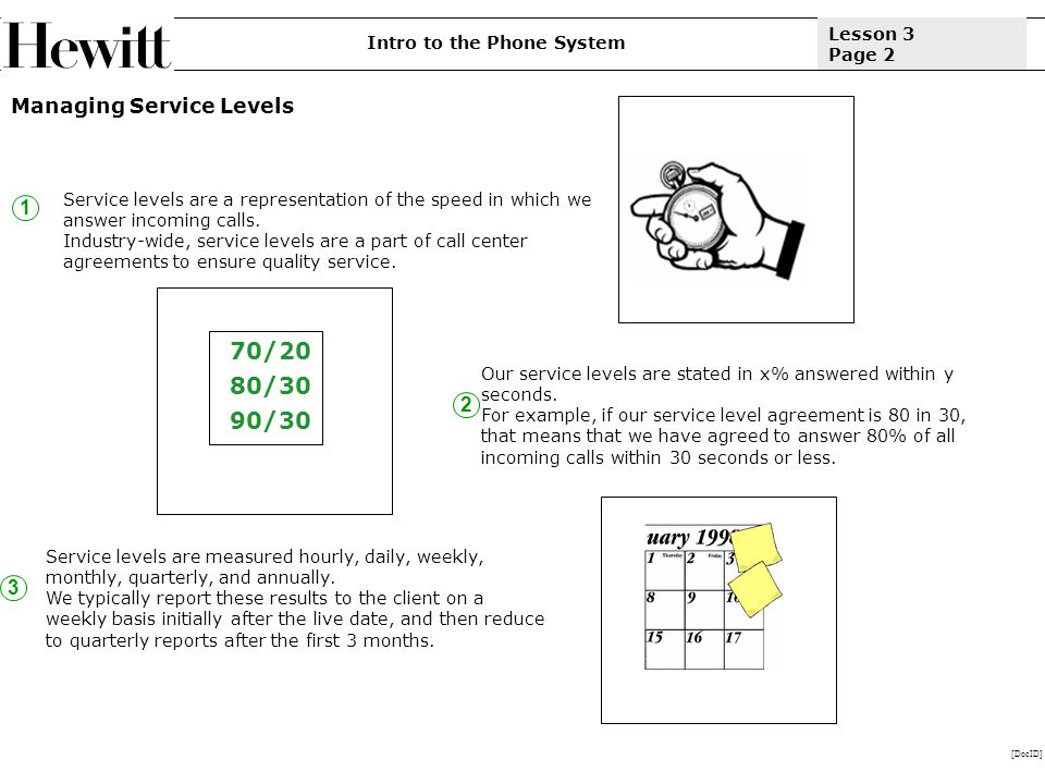 [DocID] Lesson 3 Page 2 Managing Service Levels 1 Intro to the Phone System Service levels are a representation of the speed in which we answer incoming calls.