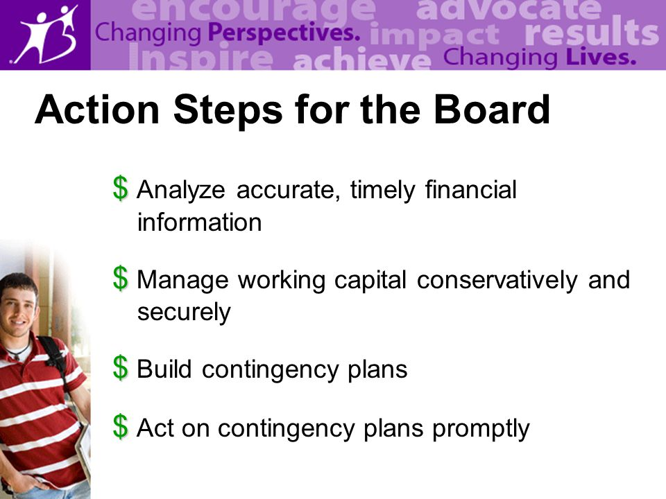 $ $ Analyze accurate, timely financial information $ $ Manage working capital conservatively and securely $ $ Build contingency plans $ $ Act on contingency plans promptly Action Steps for the Board