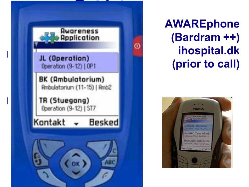 27 AWAREphone (Bardram ++) ihospital.dk (prior to call)