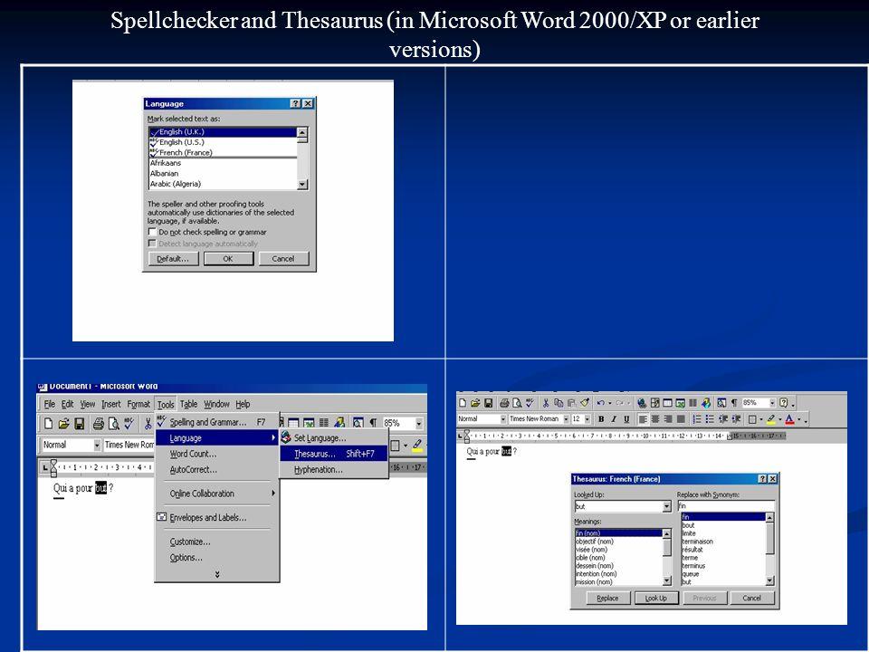 Spellchecker (in Microsoft Word 2000/XP or earlier versions)