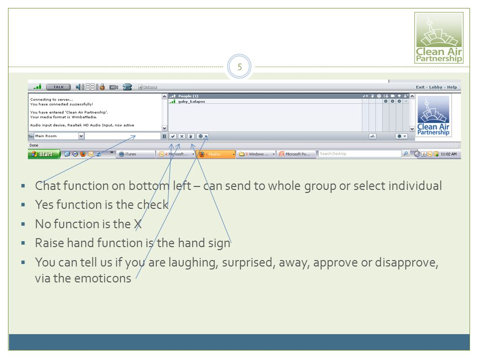  Chat function on bottom left – can send to whole group or select individual  Yes function is the check  No function is the X  Raise hand function is the hand sign  You can tell us if you are laughing, surprised, away, approve or disapprove, via the emoticons 5
