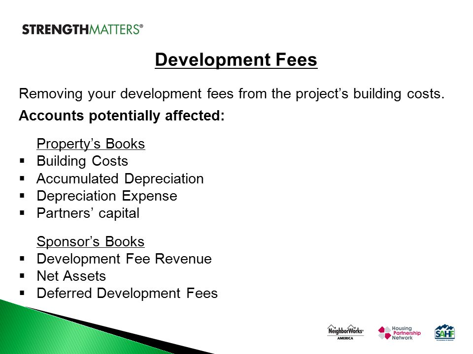 Removing your development fees from the project's building costs. Accounts potentially affected: Property's Books  Building Costs  Accumulated Depre