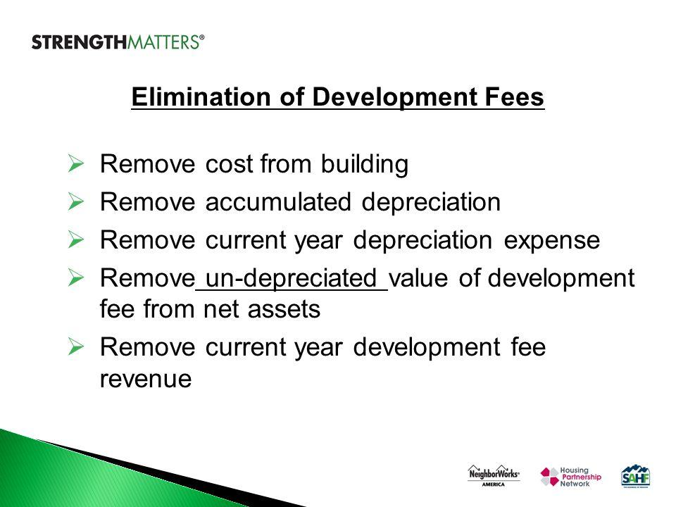  Remove cost from building  Remove accumulated depreciation  Remove current year depreciation expense  Remove un-depreciated value of development