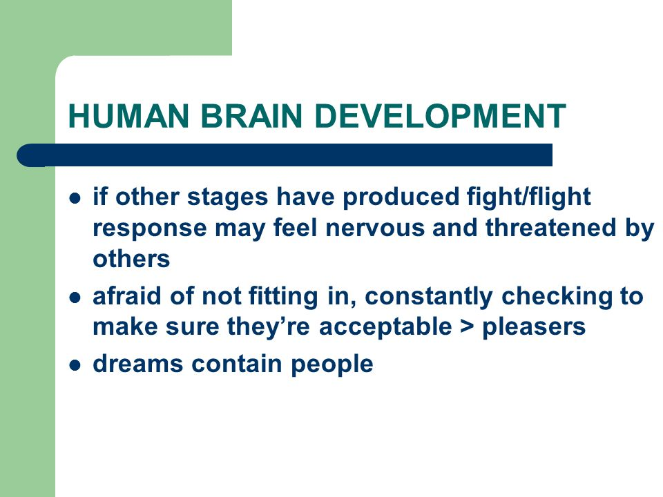 HUMAN BRAIN DEVELOPMENT if other stages have produced fight/flight response may feel nervous and threatened by others afraid of not fitting in, constantly checking to make sure they're acceptable > pleasers dreams contain people