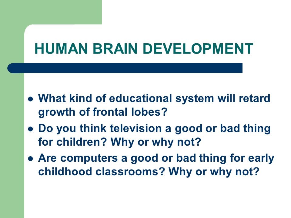 HUMAN BRAIN DEVELOPMENT What kind of educational system will retard growth of frontal lobes.