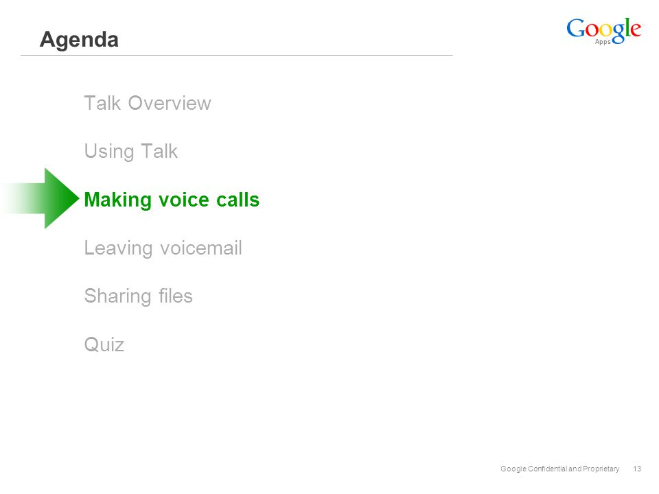 Apps Google Confidential and Proprietary13 Agenda Talk Overview Using Talk Making voice calls Leaving voicemail Sharing files Quiz