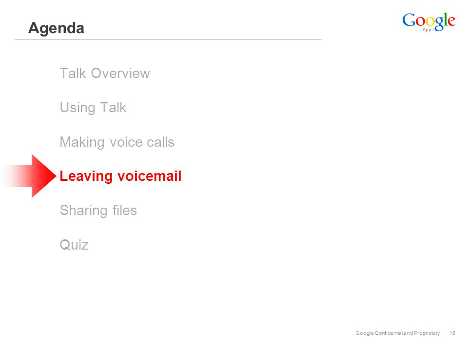 Apps Google Confidential and Proprietary19 Agenda Talk Overview Using Talk Making voice calls Leaving voicemail Sharing files Quiz