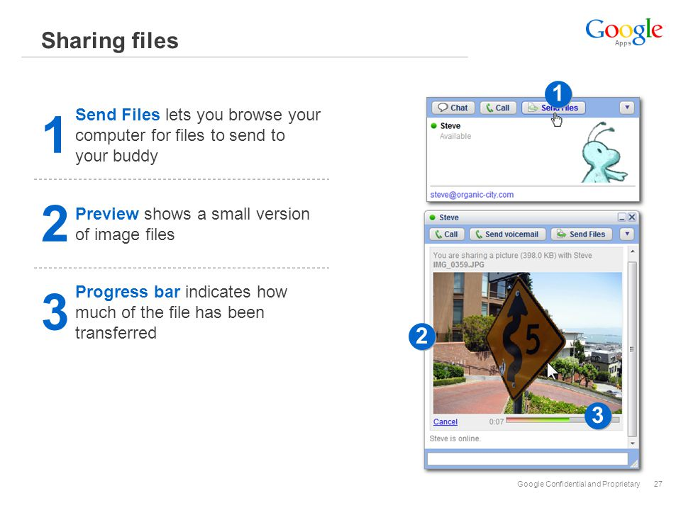 Apps Google Confidential and Proprietary27 Sharing files 1 Send Files lets you browse your computer for files to send to your buddy 1 1 2 2 3 3 2 Preview shows a small version of image files 3 Progress bar indicates how much of the file has been transferred