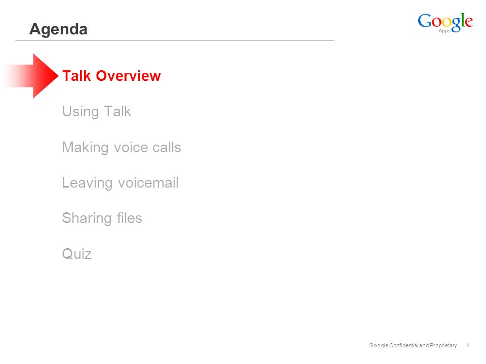 Apps Google Confidential and Proprietary4 Agenda Talk Overview Using Talk Making voice calls Leaving voicemail Sharing files Quiz