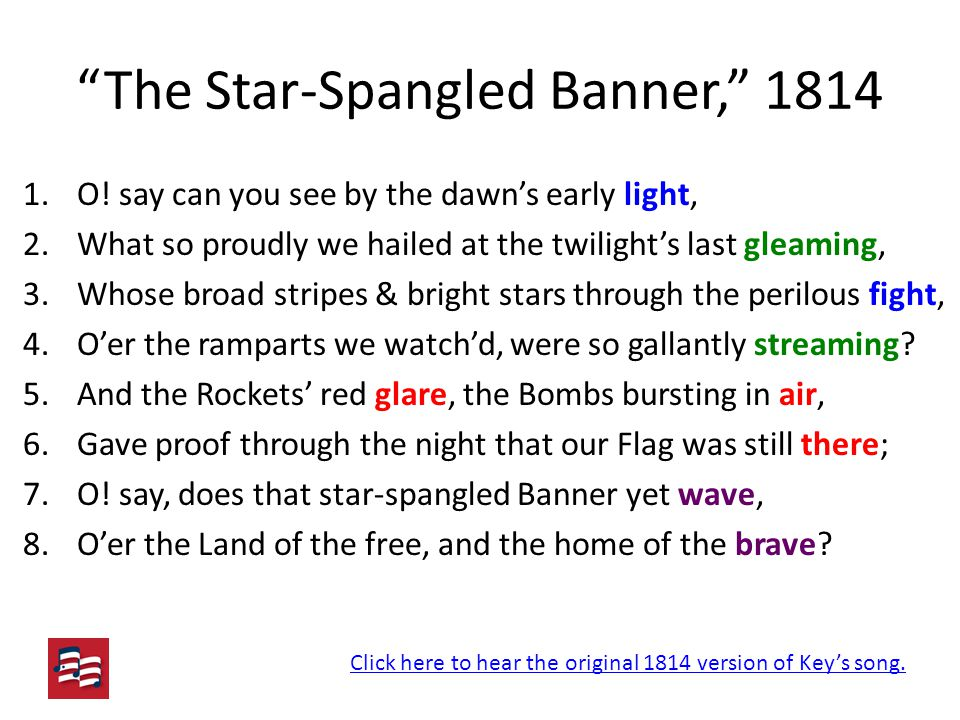 The Star-Spangled Banner, 1814 1.O.