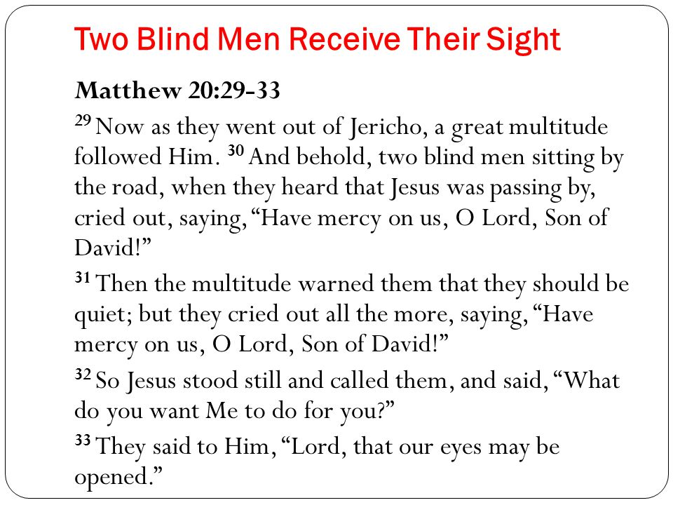 Two Blind Men Receive Their Sight Matthew 20:29-33 29 Now as they went out of Jericho, a great multitude followed Him.