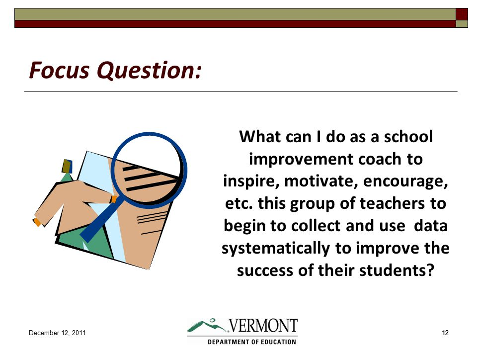 December 12, 201112 Focus Question: What can I do as a school improvement coach to inspire, motivate, encourage, etc.