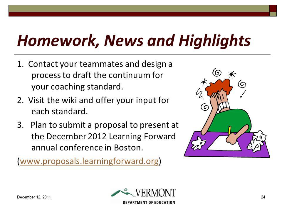 December 12, 201124 Homework, News and Highlights 1.