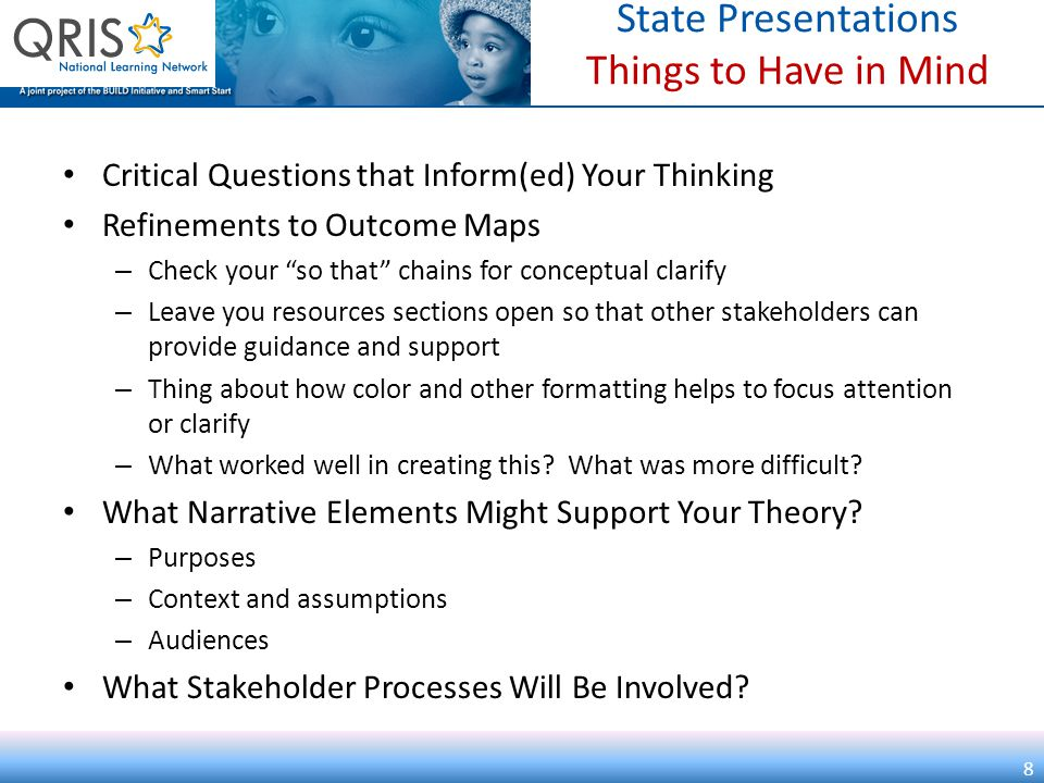 State Presentations Things to Have in Mind Critical Questions that Inform(ed) Your Thinking Refinements to Outcome Maps – Check your so that chains for conceptual clarify – Leave you resources sections open so that other stakeholders can provide guidance and support – Thing about how color and other formatting helps to focus attention or clarify – What worked well in creating this.