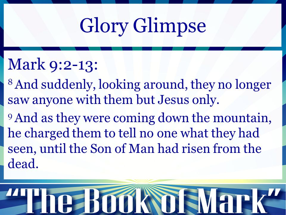 Mark 9:14-29: 25 And when Jesus saw that a crowd came running together, he rebuked the unclean spirit, saying to it, You mute and deaf spirit, I command you, come out of him and never enter him again. Glory Glimpse