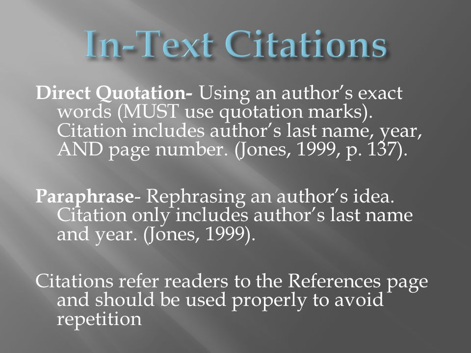 Direct Quotation- Using an author's exact words (MUST use quotation marks).