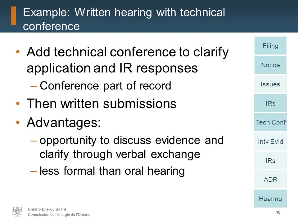 18 Example: Written hearing with technical conference Add technical conference to clarify application and IR responses –Conference part of record Then written submissions Advantages: –opportunity to discuss evidence and clarify through verbal exchange –less formal than oral hearing Notice Issues IRs Intv Evid IRs ADR Hearing Filing Tech Conf