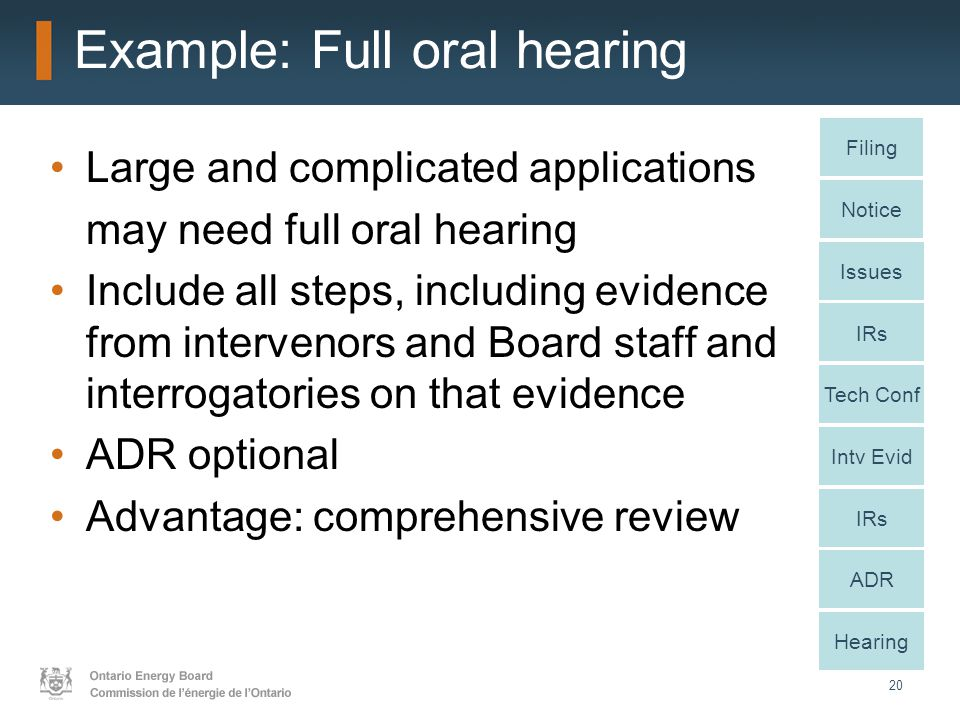 20 Example: Full oral hearing Large and complicated applications may need full oral hearing Include all steps, including evidence from intervenors and Board staff and interrogatories on that evidence ADR optional Advantage: comprehensive review Notice Issues IRs Intv Evid IRs ADR Hearing Filing Tech Conf