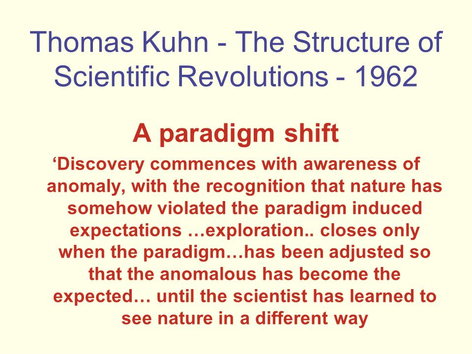 Thomas Kuhn - The Structure of Scientific Revolutions - 1962 A paradigm shift 'Discovery commences with awareness of anomaly, with the recognition that nature has somehow violated the paradigm induced expectations …exploration..