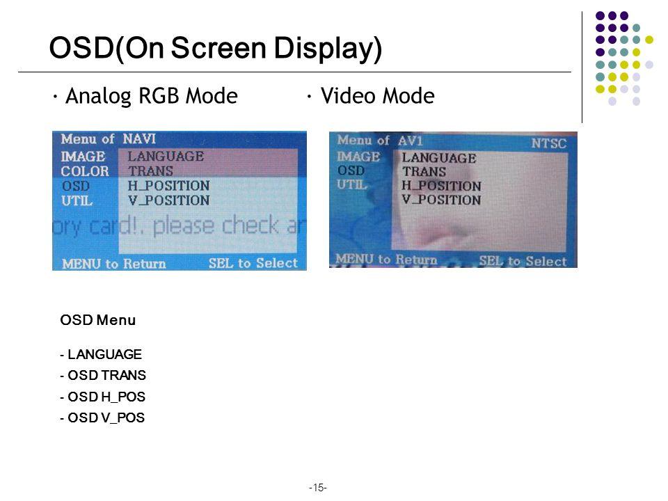 OSD(On Screen Display) · Analog RGB Mode · Video Mode OSD Menu - LANGUAGE - OSD TRANS - OSD H_POS - OSD V_POS -15-