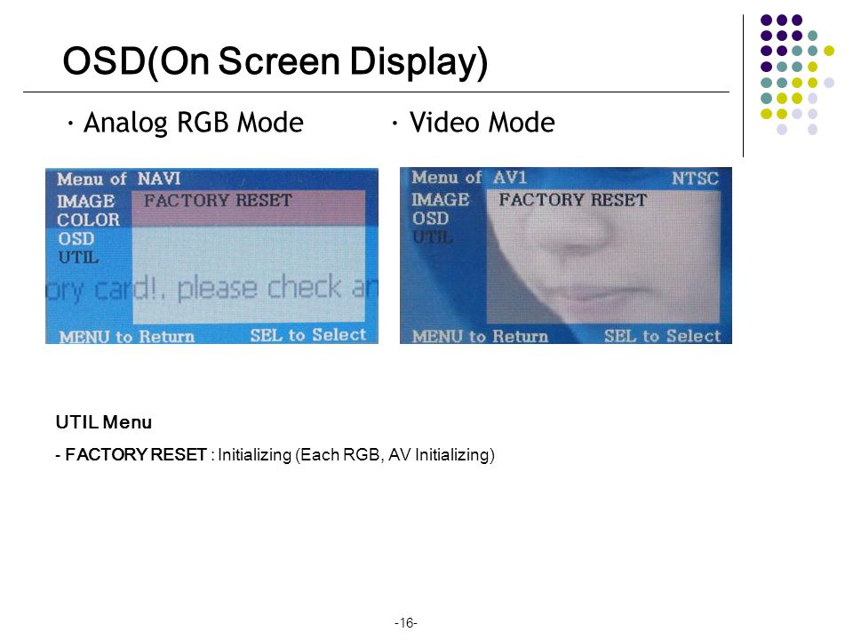 OSD(On Screen Display) · Analog RGB Mode · Video Mode UTIL Menu - FACTORY RESET : Initializing (Each RGB, AV Initializing) -16-