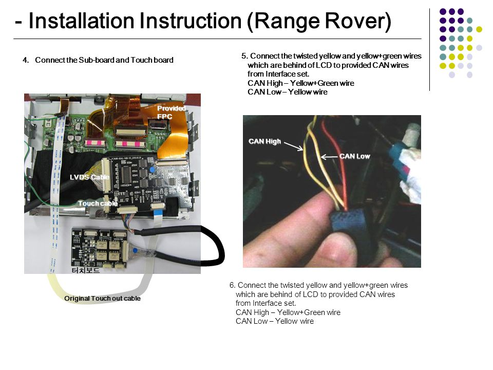 - Installation Instruction (Range Rover) LVDS Cable Original Touch out cable Touch cable Provided FPC 터치보드 4.Connect the Sub-board and Touch board 5.