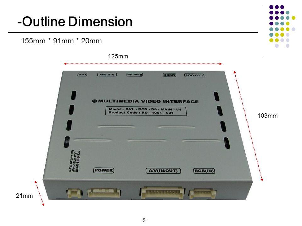 155mm * 91mm * 20mm 125mm 21mm 103mm -6- -Outline Dimension