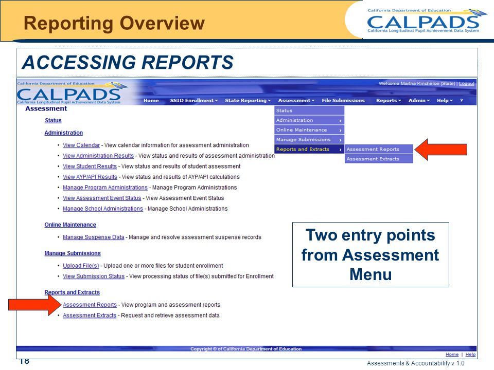 Assessments & Accountability v 1.0 18 Reporting Overview ACCESSING REPORTS Two entry points from Assessment Menu