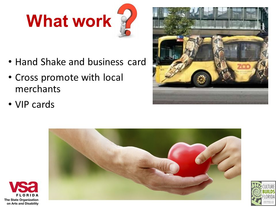 What works Hand Shake and business card Cross promote with local merchants VIP cards