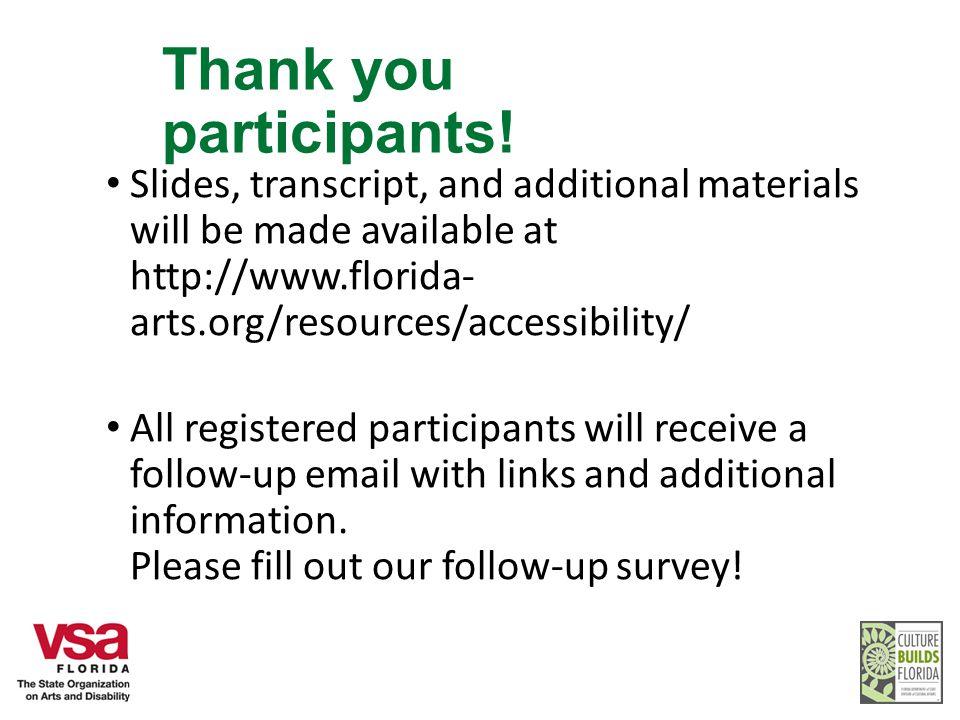Thank you participants.