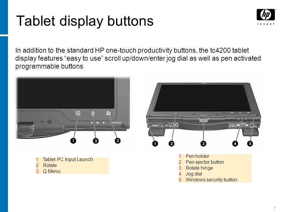 "7 Tablet display buttons In addition to the standard HP one-touch productivity buttons, the tc4200 tablet display features ""easy to use"" scroll up/dow"