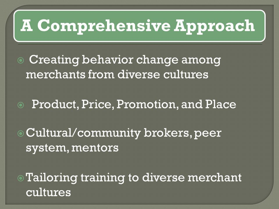  Creating behavior change among merchants from diverse cultures  Product, Price, Promotion, and Place  Cultural/community brokers, peer system, mentors  Tailoring training to diverse merchant cultures A Comprehensive Approach