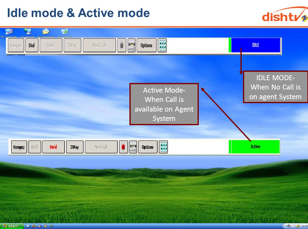 Idle mode & Active mode IDLE MODE- When No Call is on agent System Active Mode- When Call is available on Agent System