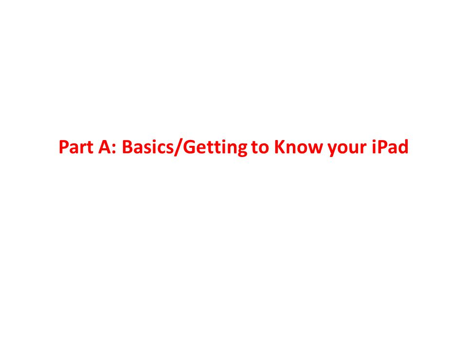 Part A: Basics/Getting to Know your iPad