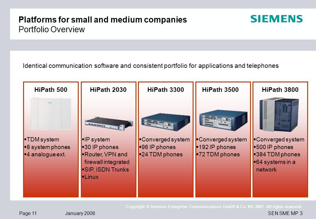 Page 11 January 2008 SEN SME MP 3 Copyright © Siemens Enterprise Communications GmbH & Co.