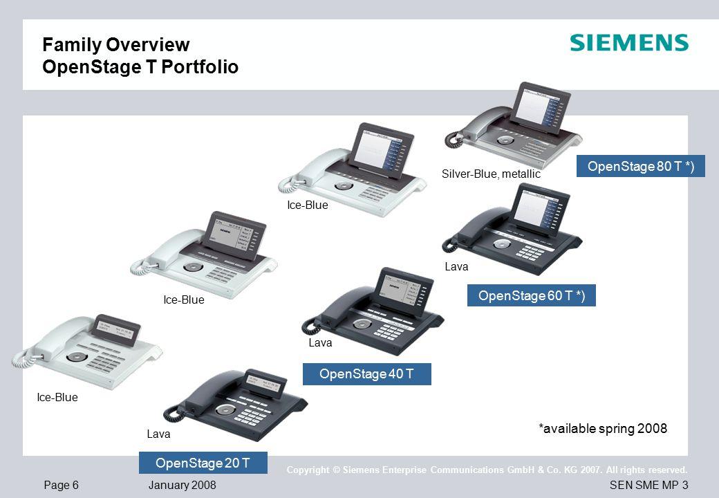 Page 6 January 2008 SEN SME MP 3 Copyright © Siemens Enterprise Communications GmbH & Co.
