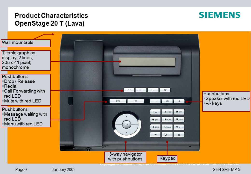 Page 7 January 2008 SEN SME MP 3 Copyright © Siemens Enterprise Communications GmbH & Co. KG 2007. All rights reserved. Product Characteristics OpenSt